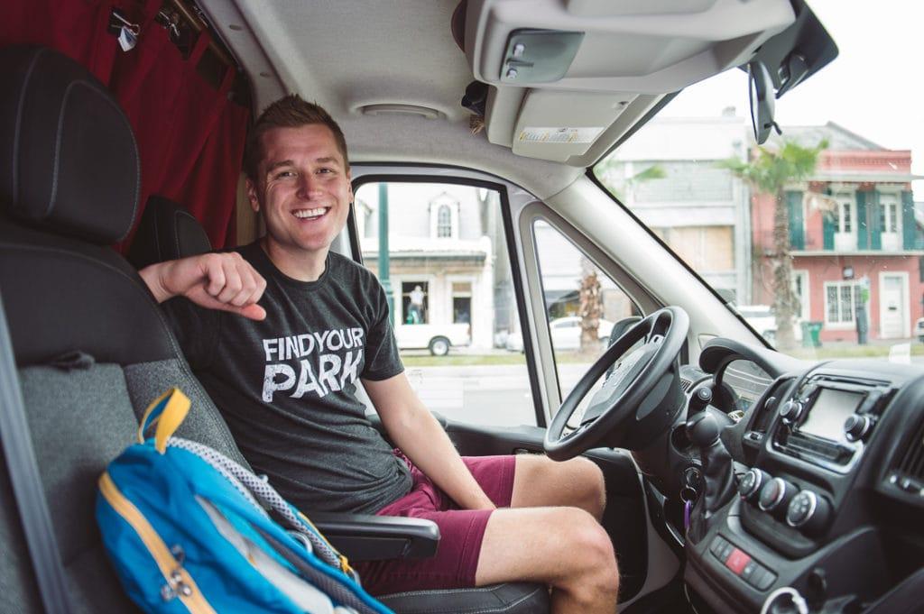 """Meyer in his van, dubbed """"Vanny McVanface."""""""