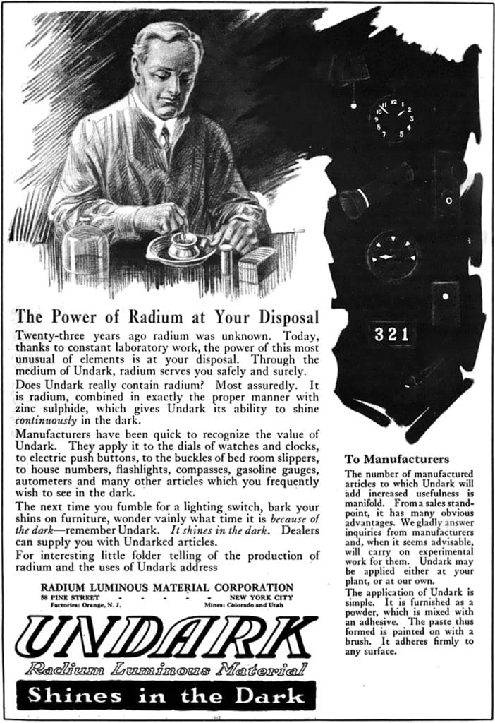 Magazine advertisement for Undark paint
