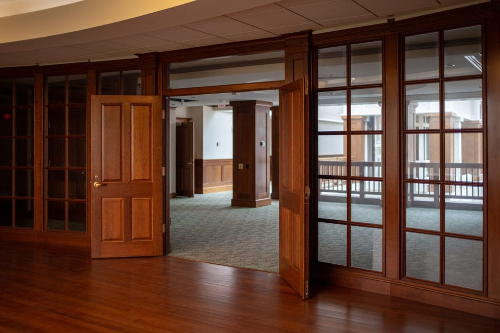 open doors to a conference room