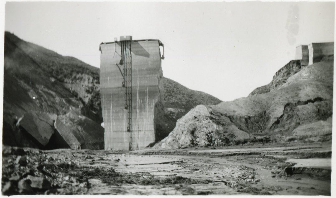 a section of the concrete dam