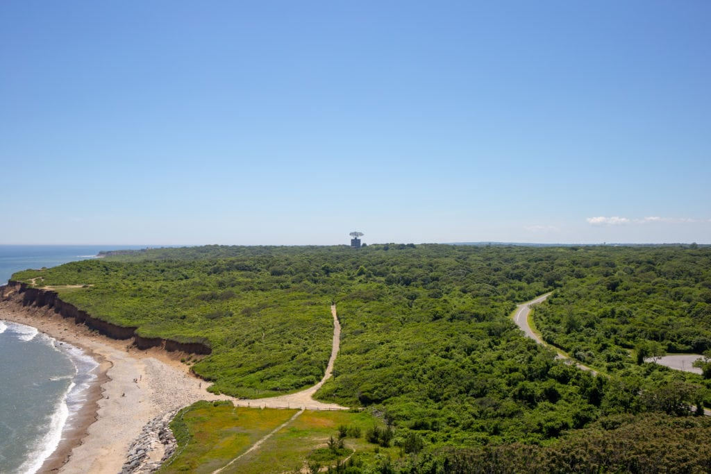 aerial view of radar tower and park