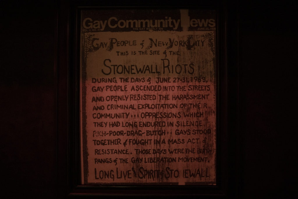 sign inside of the stonewall