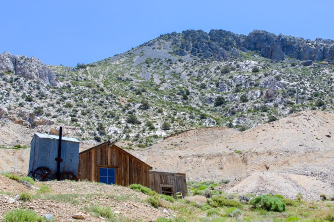The mining cabin contains beautiful pieces of ore and silver at the Cerro Gordo ghost town
