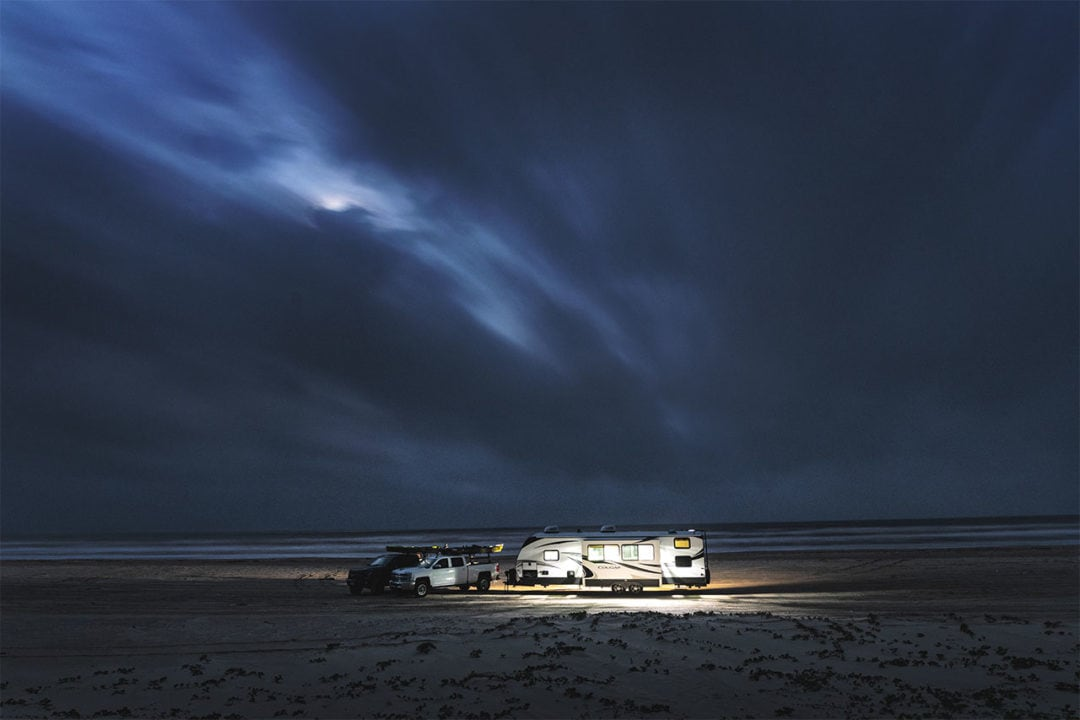 Rv at night on the beach