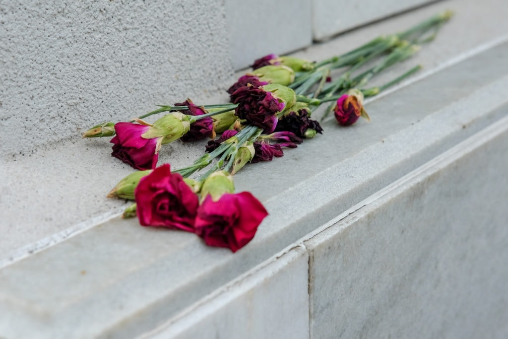 Roses left on a monument.