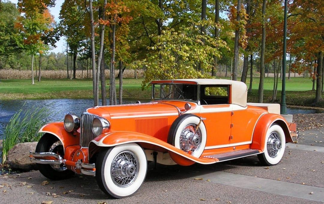 Frank Loyd Wright's bright orange 1930 Cord L-29 Cabriolet.