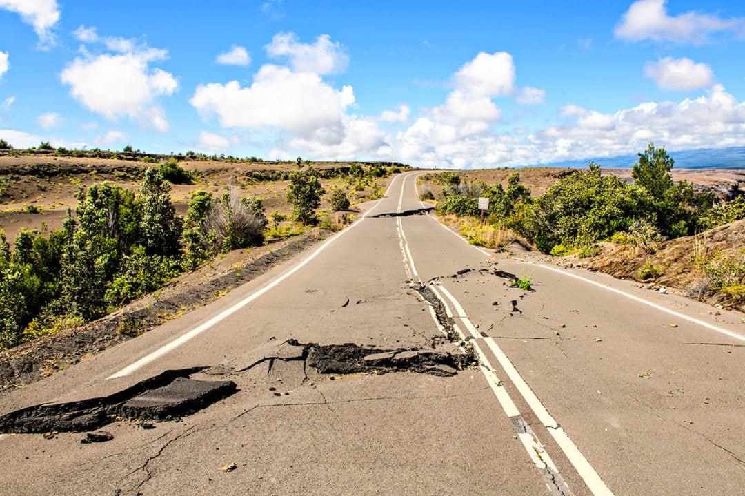 Damaged asphalt along Crater Rim Drive.