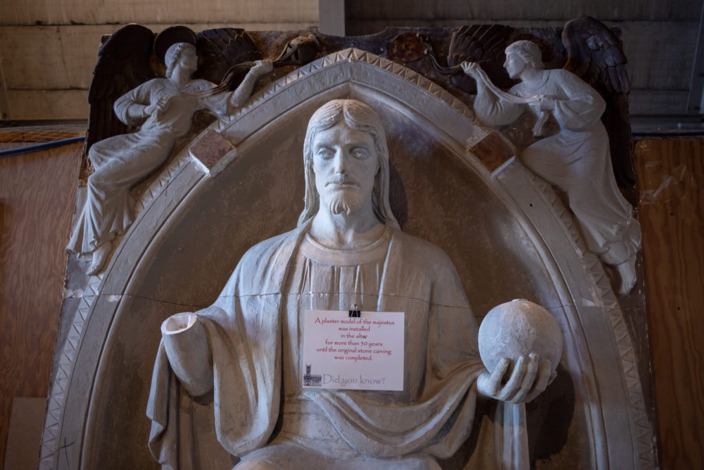 A plaster model of the statue that sits above the altar.