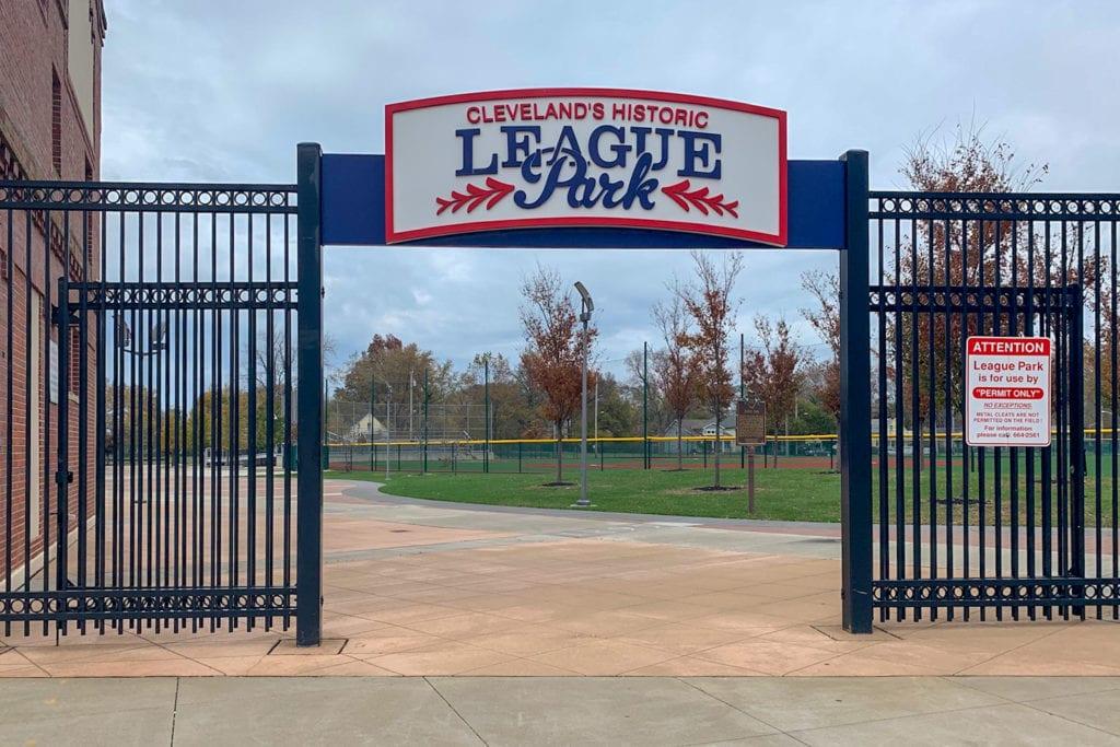 The entrance to League Park.