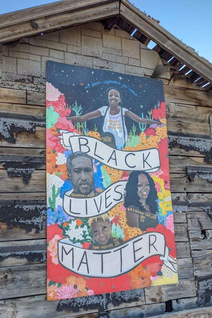 A Black Lives Matter mural.