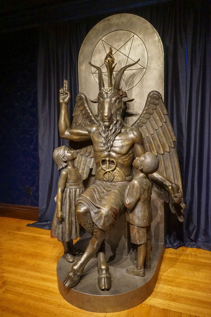Bronze statue of Baphomet.