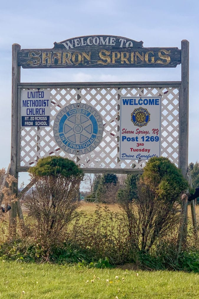 Sharon Springs welcome sign.