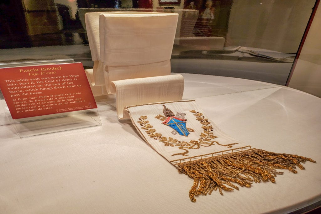 A sash worn by Pope John Paul II.