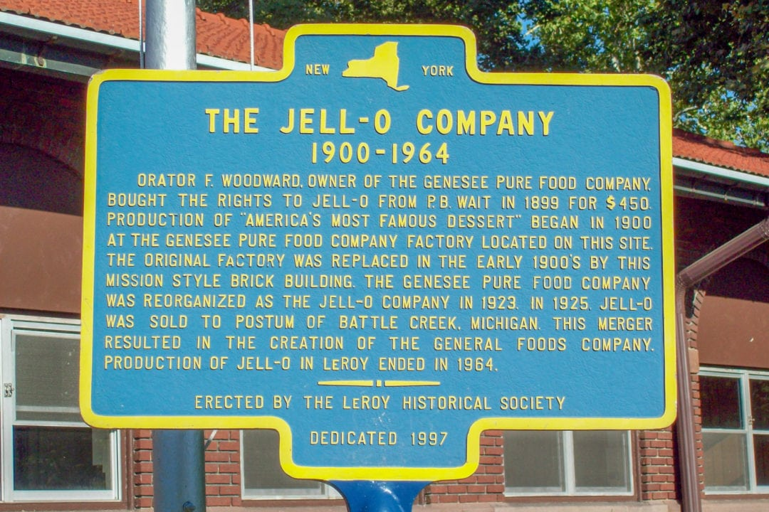 Original Jell-O factory historic marker.