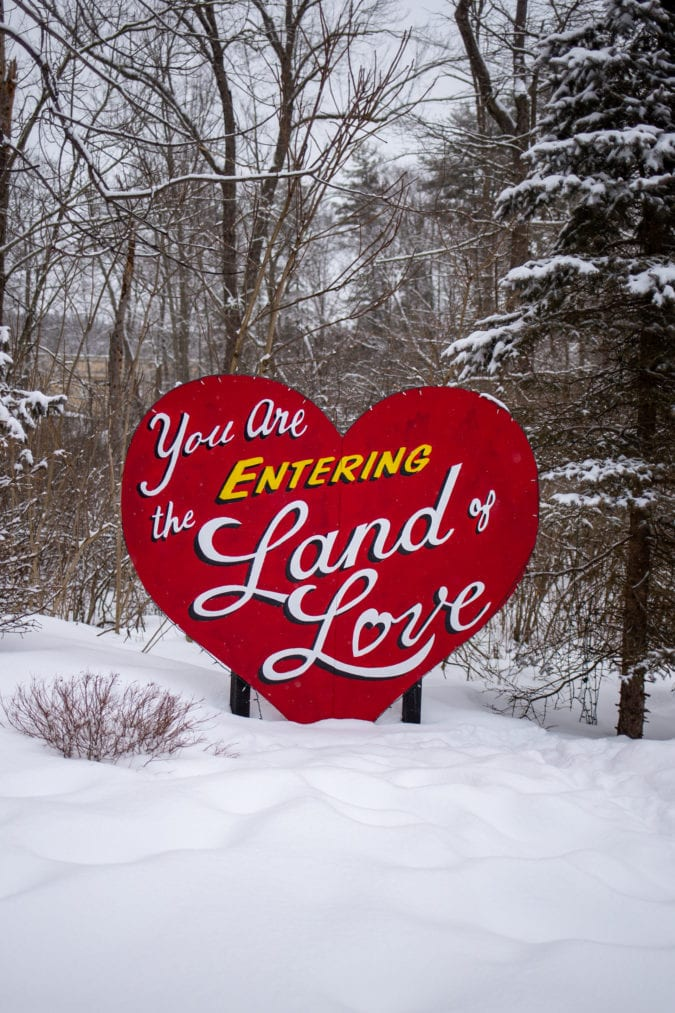 Land of Love sign.