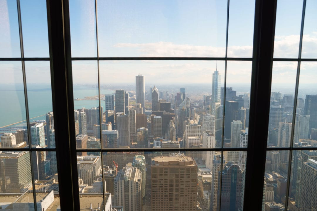 The view from the John Hancock Observatory looking toward downtown Chicago