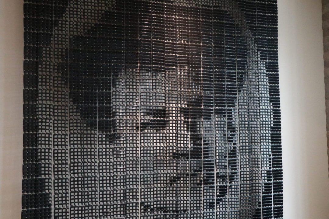 a portrait of madam c j walker made of 4,000 hair combs